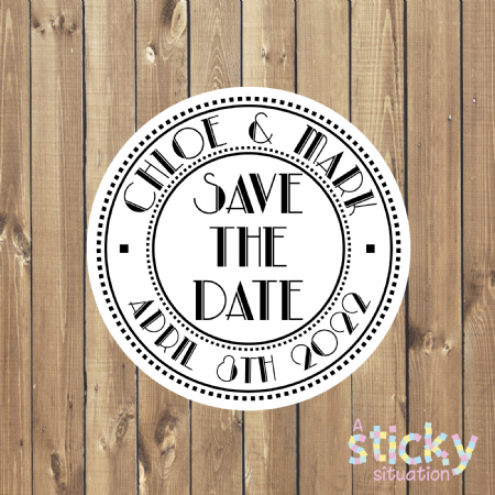 Personalised Save the Date Stickers - Art Deco Theme